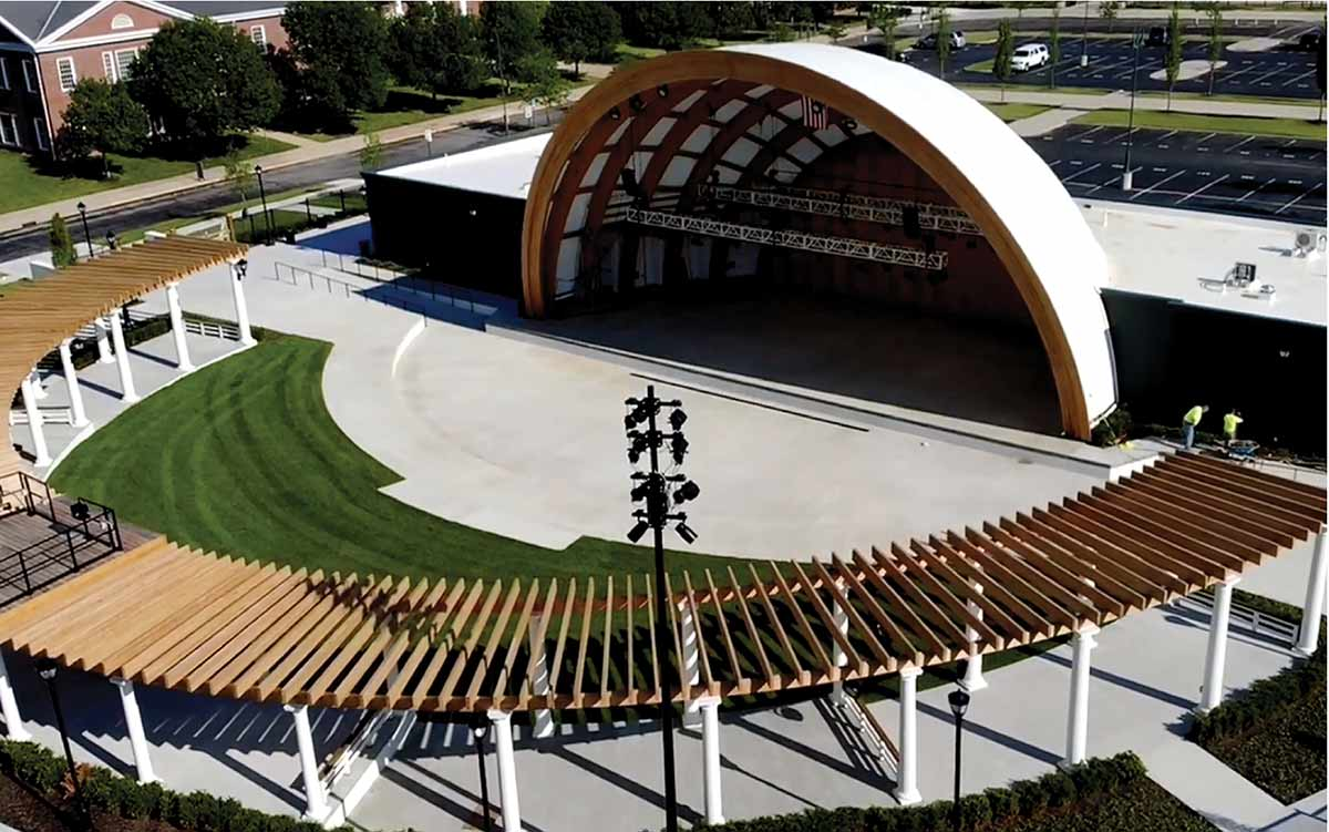 Aerial view of the Hinson Amphitheater in New Albany, Ohio